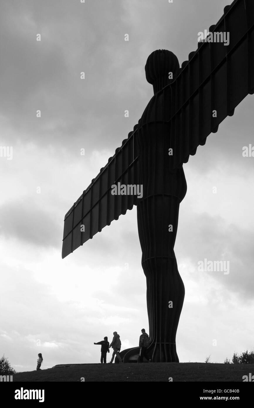 Ángel del Norte en blanco y negro Foto de stock