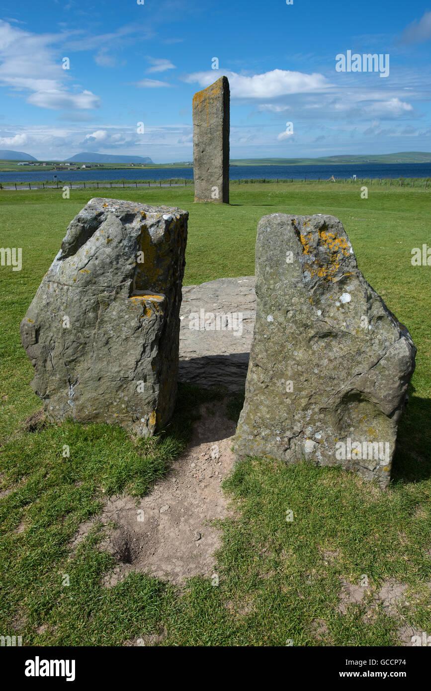 Sternness Standing Stones dentro del sitio del Patrimonio Mundial de la UNESCO, Heart of Neolithic Orkney SCO 10,592. Foto de stock