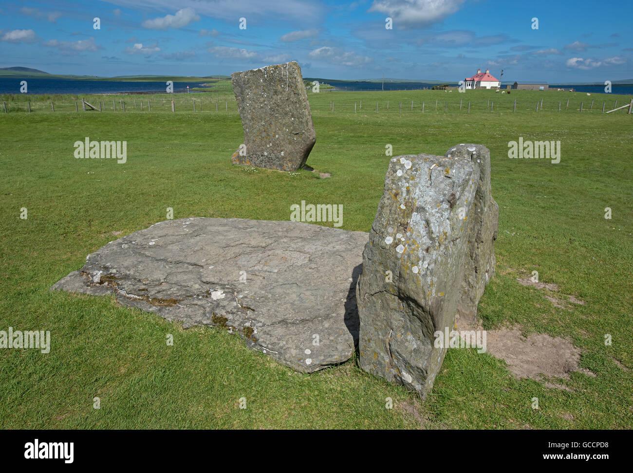 Sternness Standing Stones dentro del sitio del Patrimonio Mundial de la UNESCO, Heart of Neolithic Orkney. 10,593 de la SCO. Foto de stock