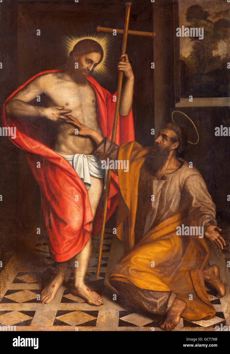BRESCIA, Italia - 22 de mayo de 2016: pintura de la duda de Santo Tomás en la iglesia Chiesa di San Faustino Imagen De Stock