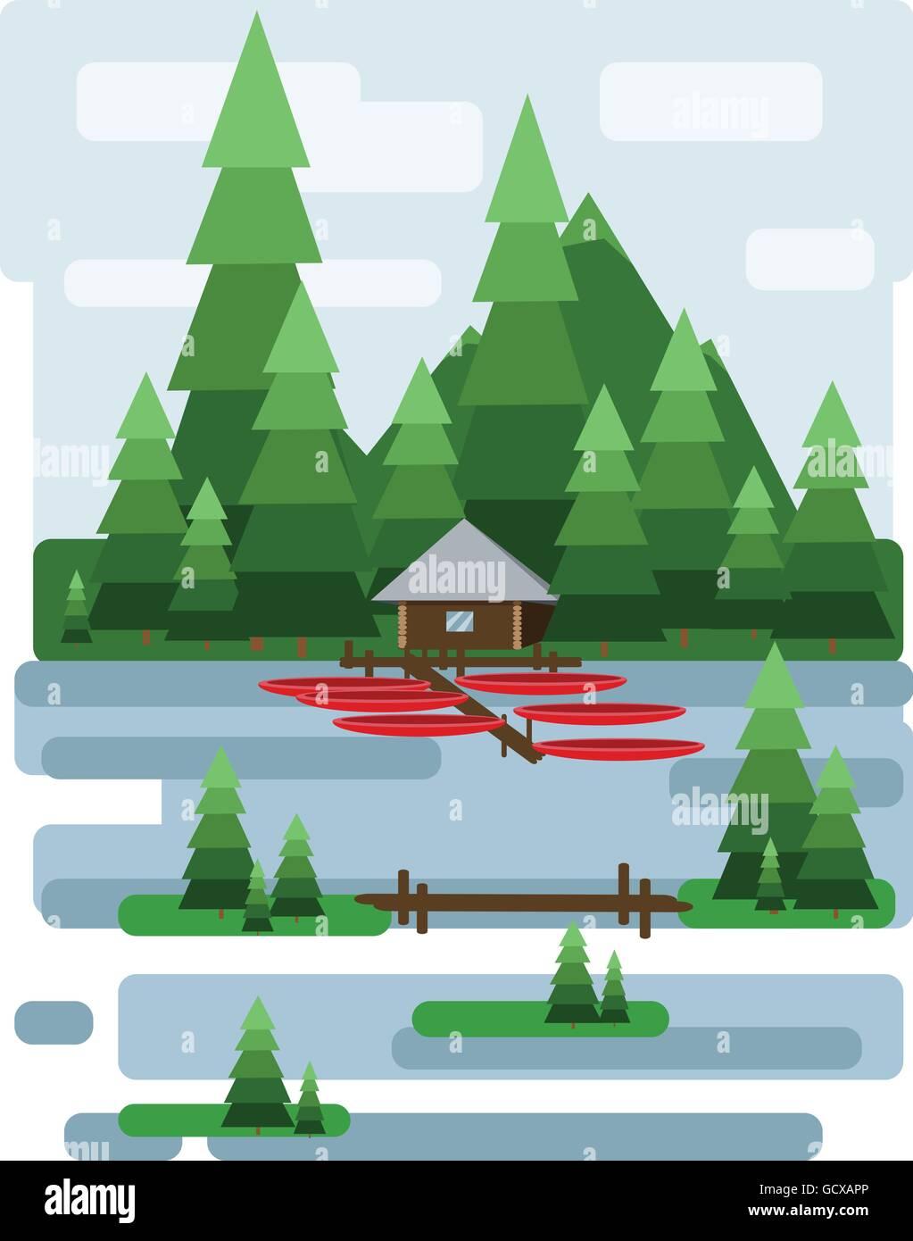 Resumen de diseño del paisaje con el verde de los árboles y las ...