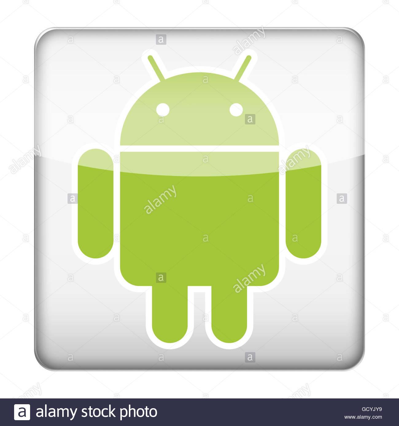Botón de icono del logotipo del sistema Android Foto de stock