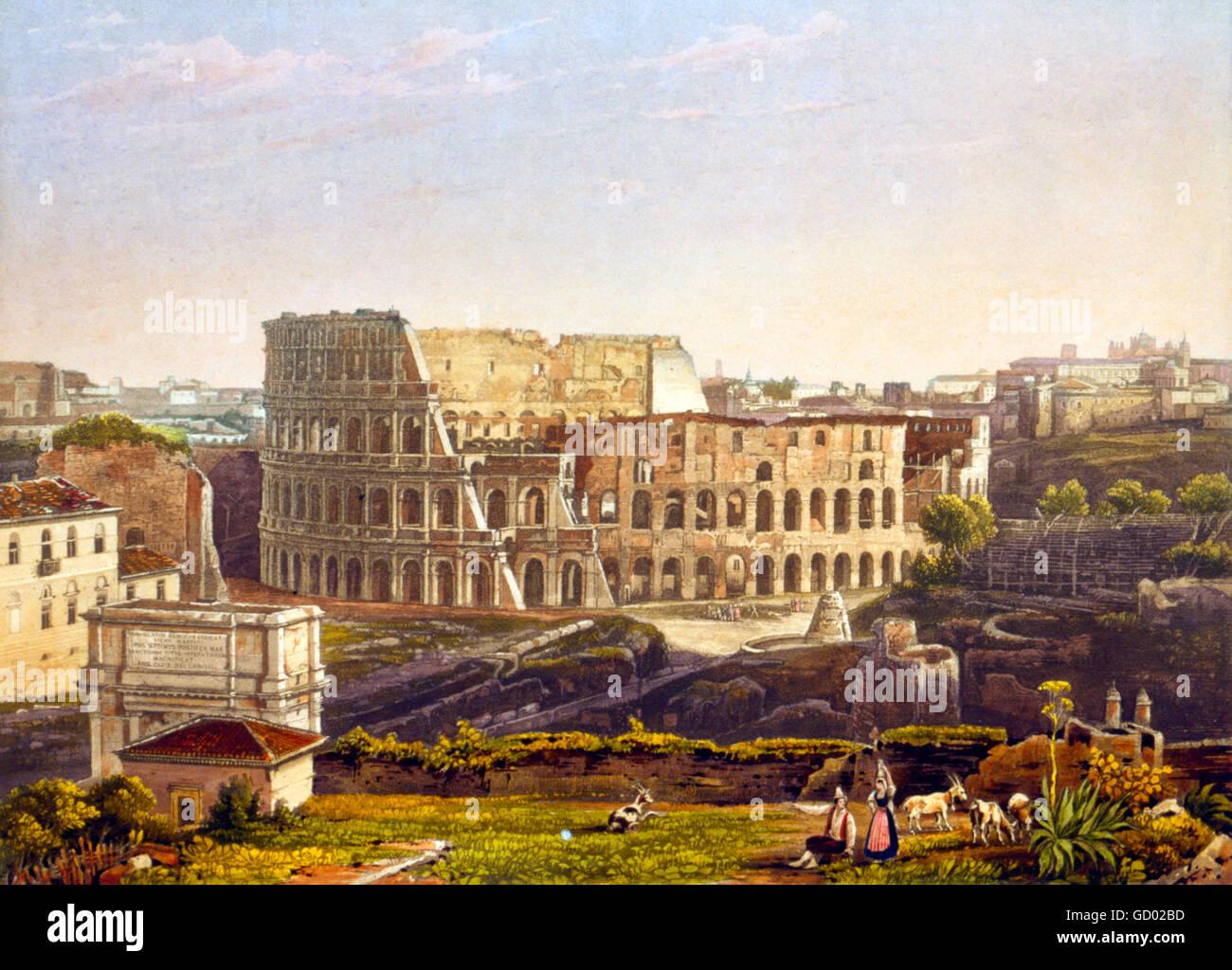Coliseo de Roma. Siglo xix vista del Coliseo de Roma. Aguafuerte y aguatinta desde un daguerrotype por Noël Imagen De Stock