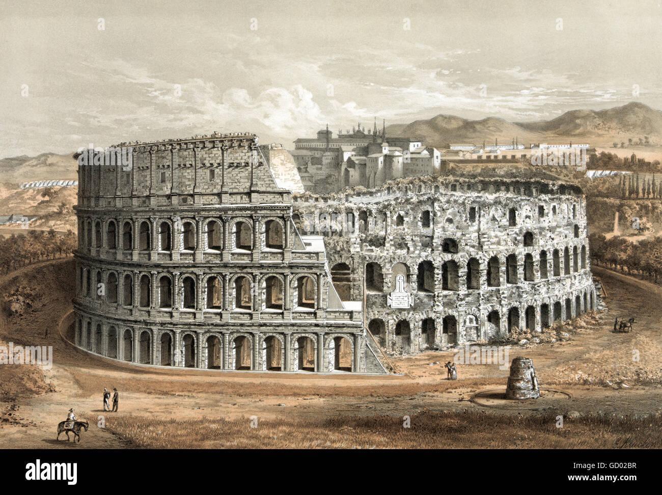 """Colossseum en Roma.siglo xix ilustración mostrando 'estructura original y empeoramiento del estado"""". Imagen De Stock"""