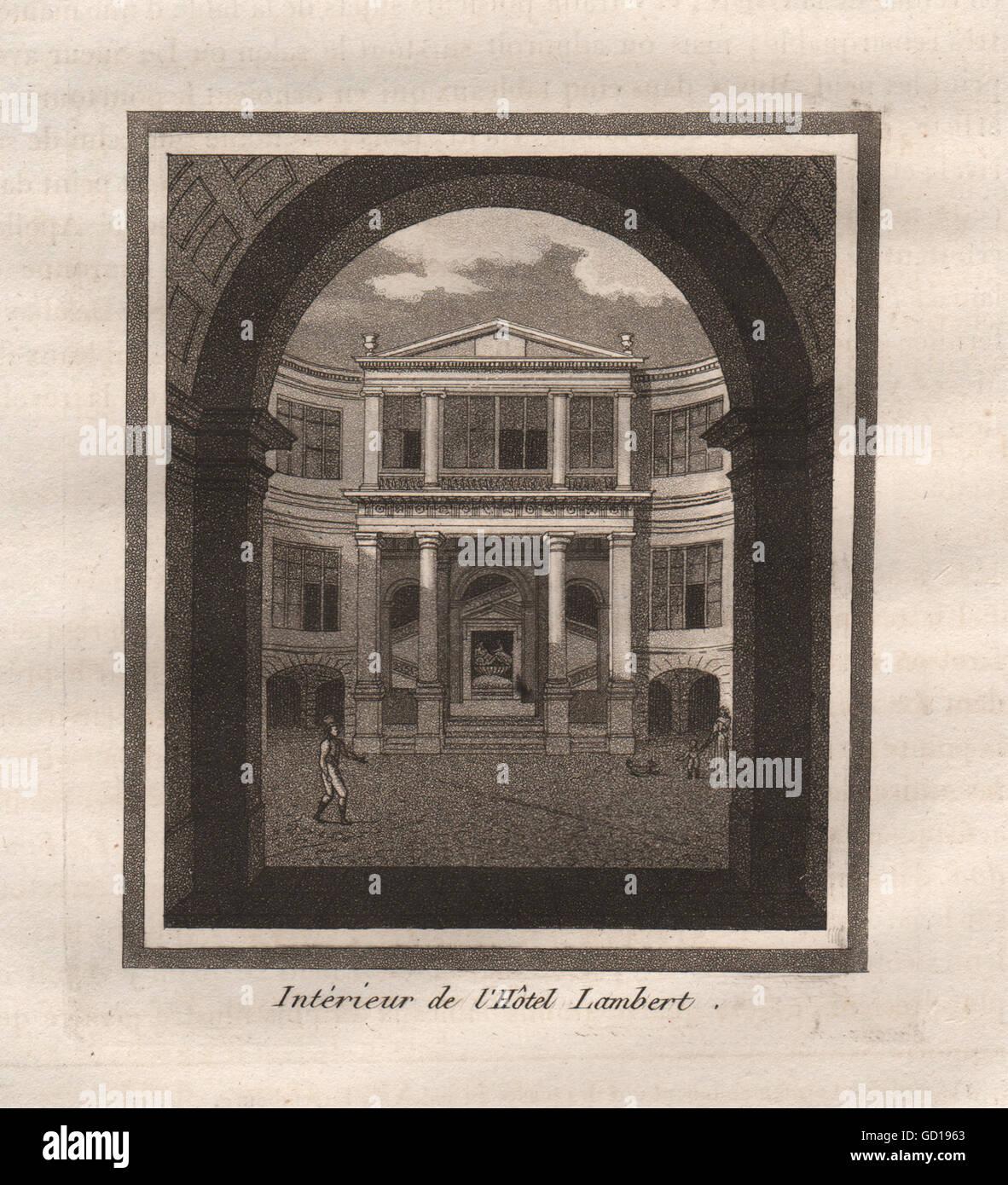 París: Interieur de l'Hôtel Lambert. Aguatinta, grabado antiguo 1808 Foto de stock
