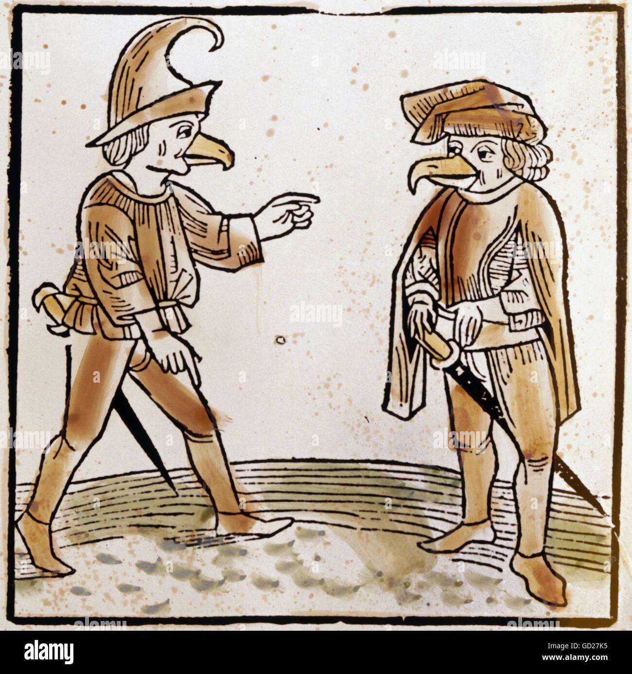 La superstición, la criatura mitológica, dos seres humanos con cabeza de pájaro de Montevilla, después Imagen De Stock