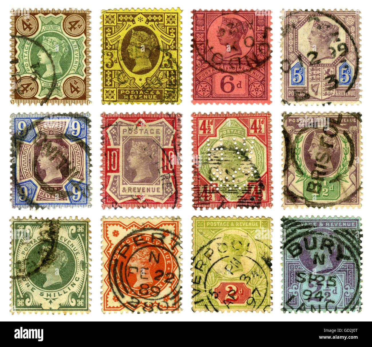 Correo, sellos postales, Gran Bretaña, sellos postales británicos con el retrato de la Reina Victoria, 1889 hasta 1899, Derechos adicionales-Clearences-no disponible Foto de stock
