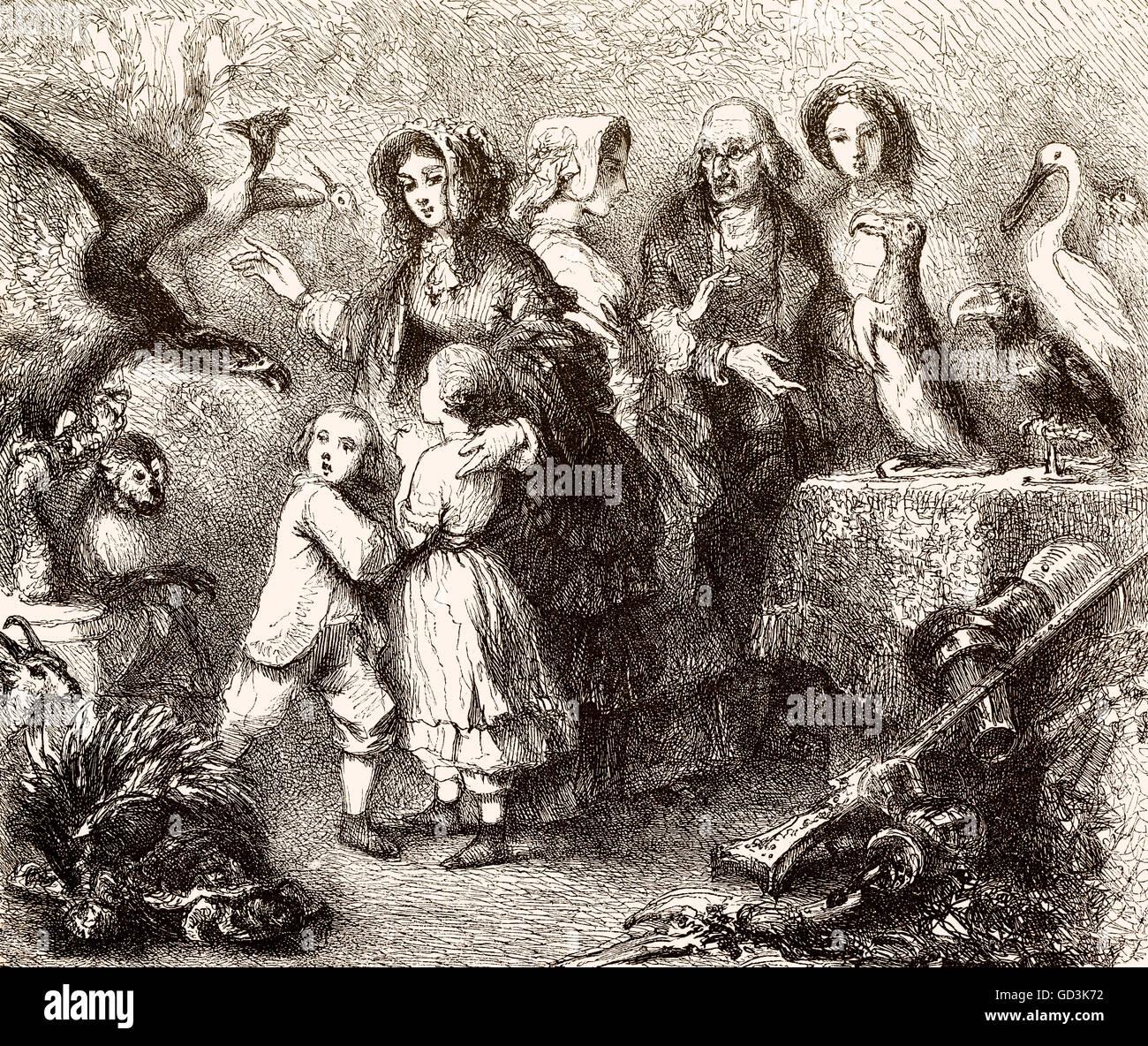 Lección de biología con niños, del siglo XIX. Imagen De Stock
