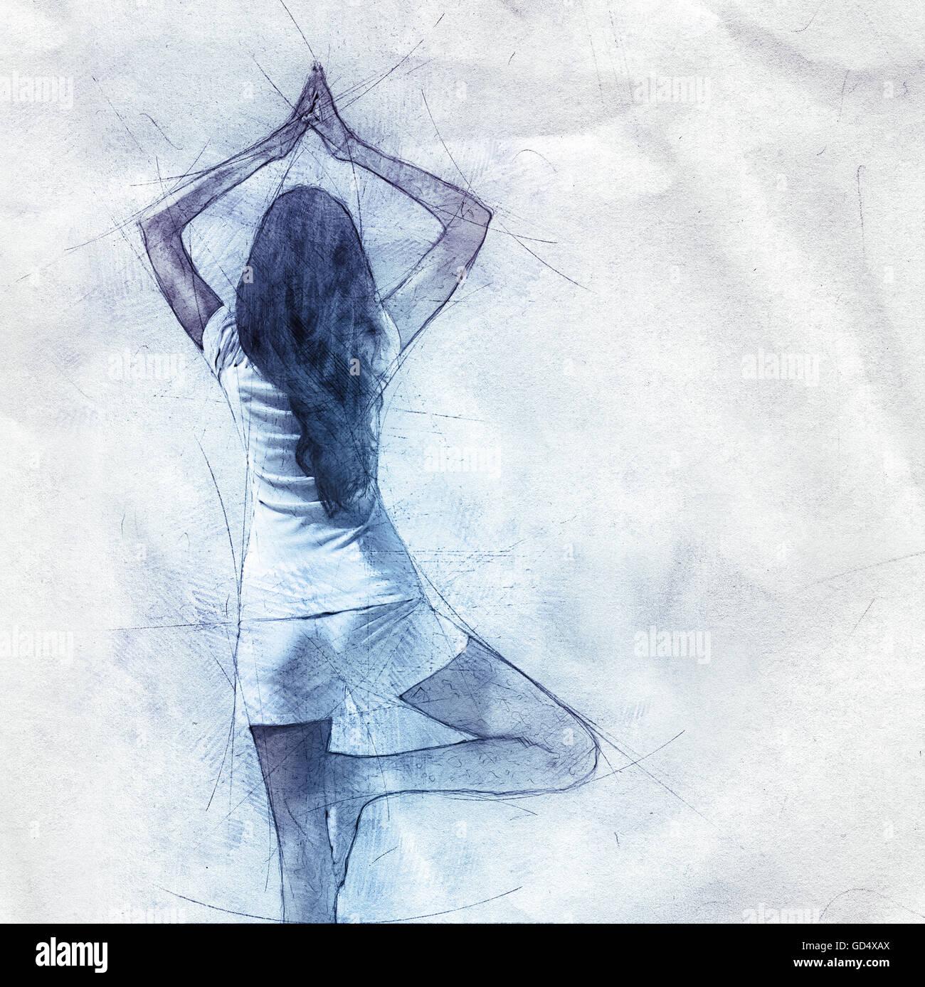Esquema Del Dibujo A Lápiz De Una Mujer Que Hace Yoga El Equilibrio