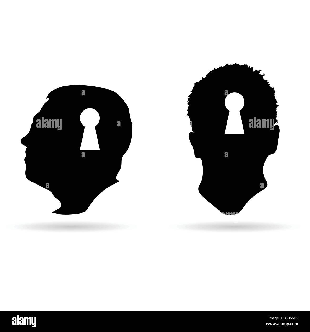 Cabeza humana y de keyhole ilustración vectorial Imagen De Stock