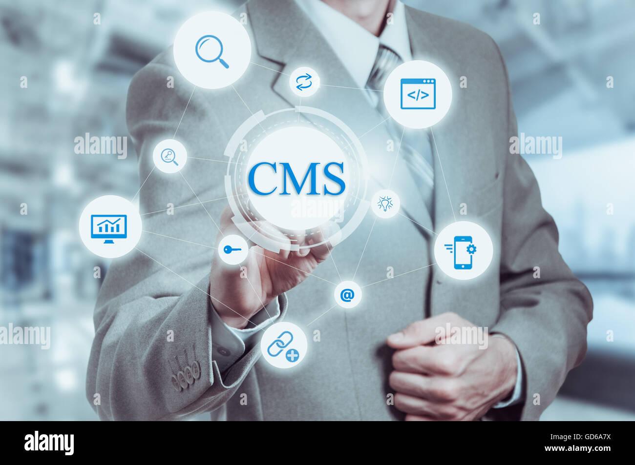 El concepto de sistema de gestión de contenidos CMS website administration Imagen De Stock