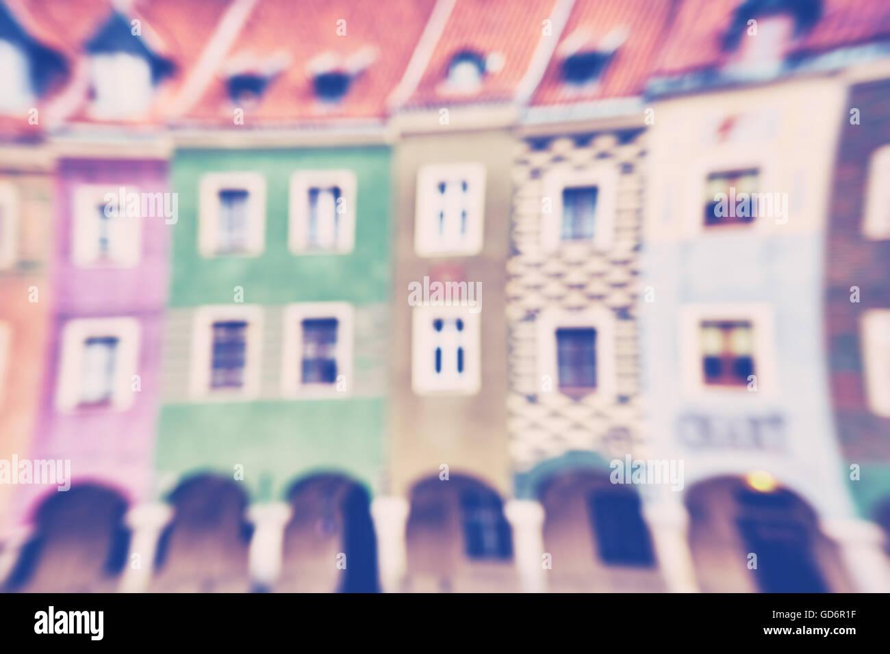 Resumen Antecedentes tonos vintage de coloridas casas borrosa. Foto de stock