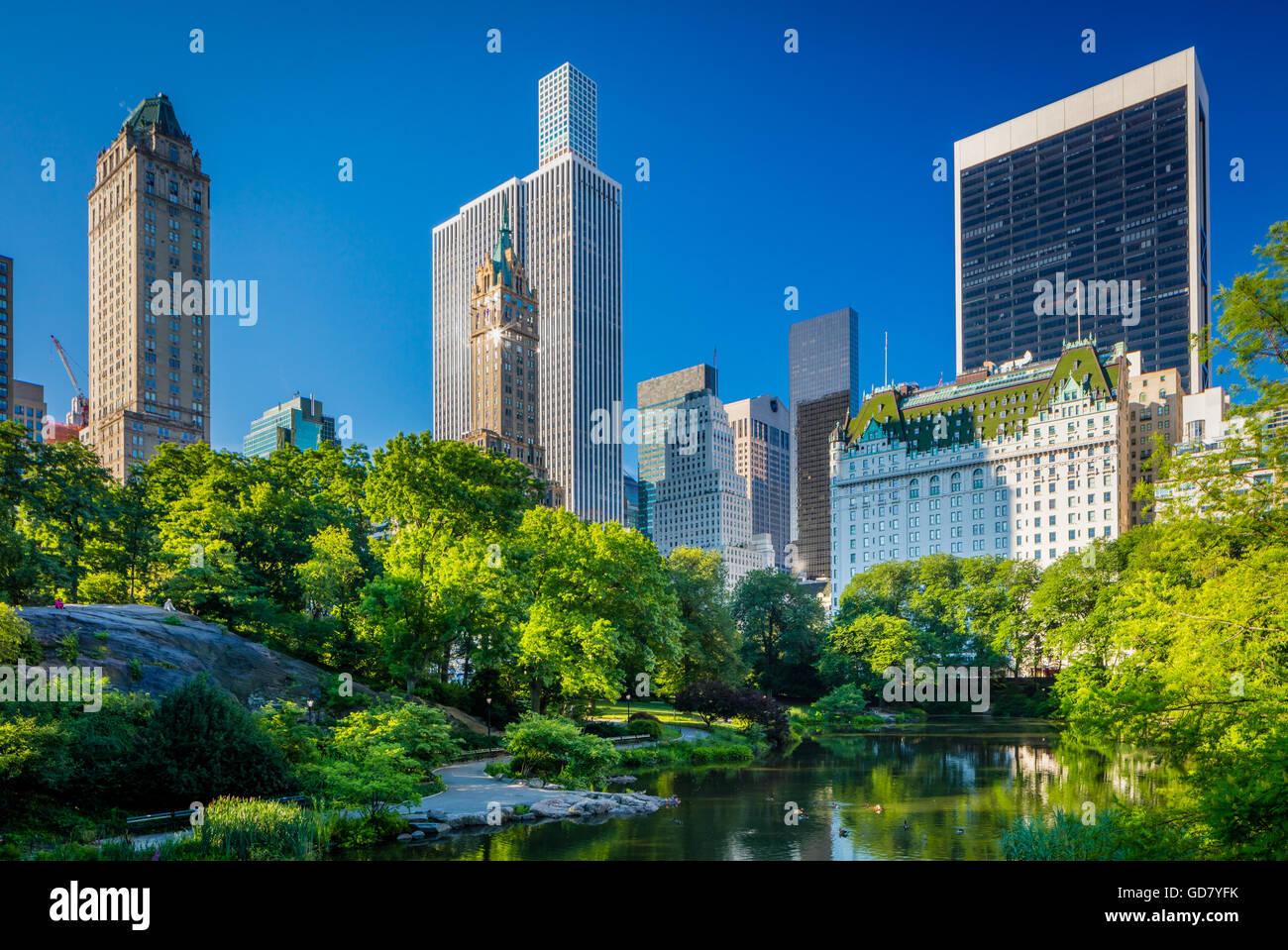 El Estanque en Central Park, la ciudad de Nueva York, con edificios de midtown, visible en la distancia Foto de stock