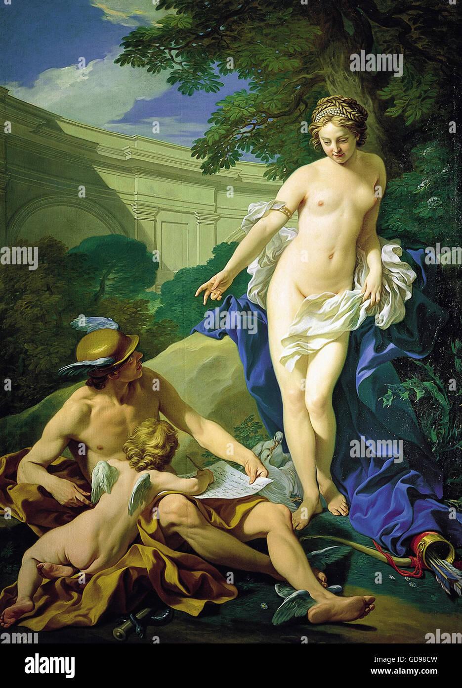 Louis Michel Van Loo, Venus, Mercurio y el Amor Imagen De Stock