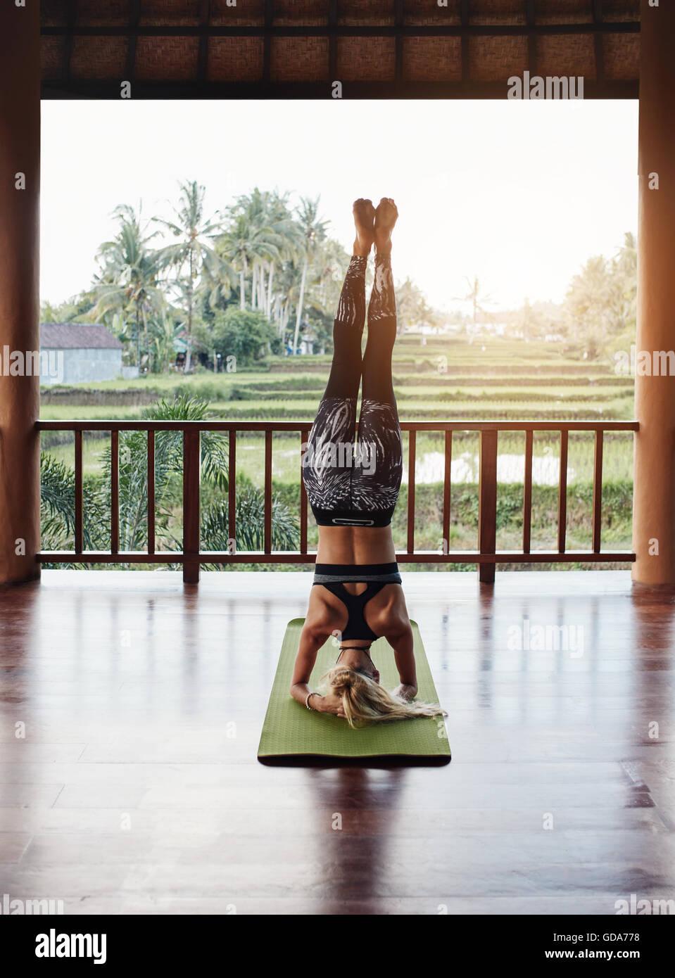 Vista trasera foto de mujer deportiva haciendo compatible hacer el pino. Sirsasana yoga entrenar en el fitness mat Imagen De Stock