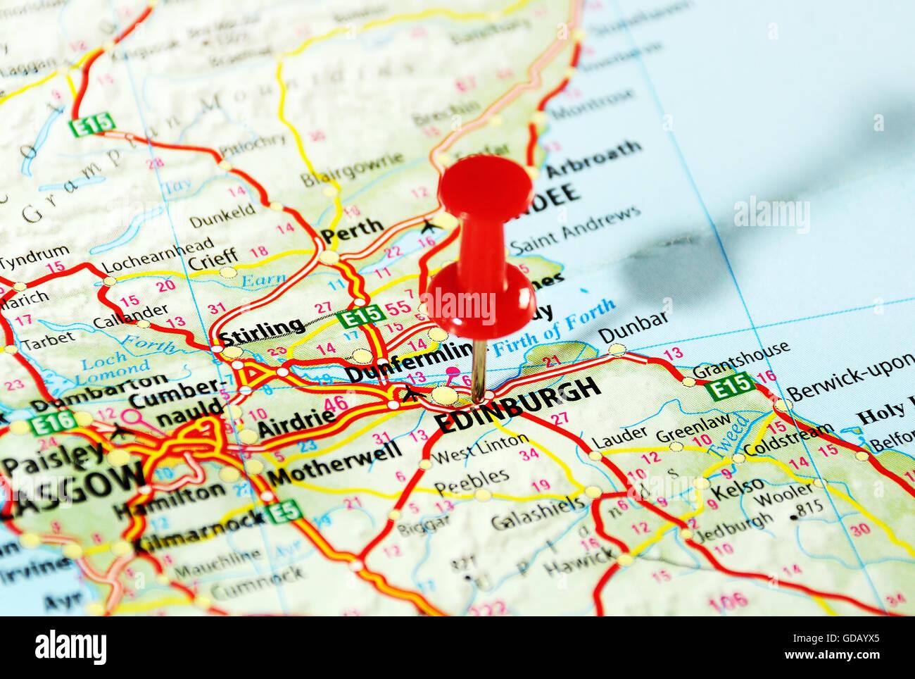 Edimburgo Escocia Mapa Del Reino Unido Y El Polo Concepto De