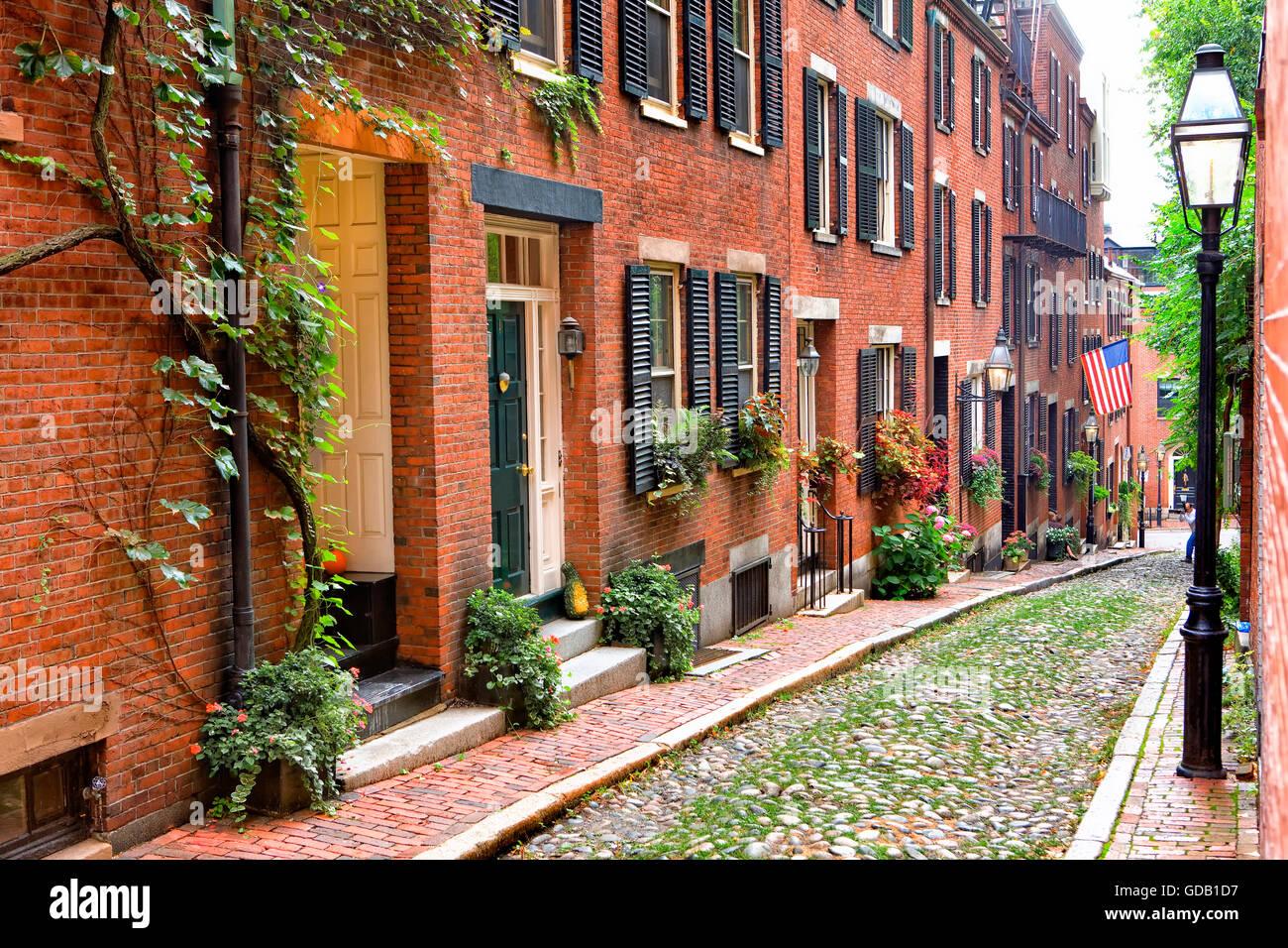 Acorn street en Beacon Hill, Boston. Imagen De Stock