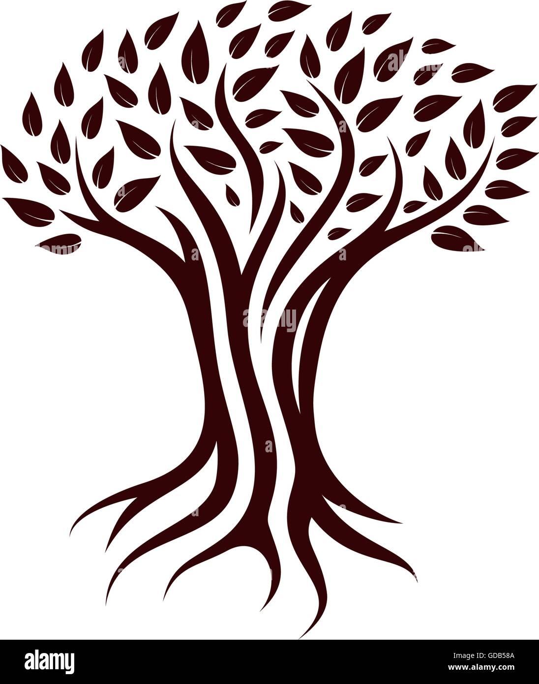 árbol Caducifolio De Ilustración Vectorial Vector Logo De árbol