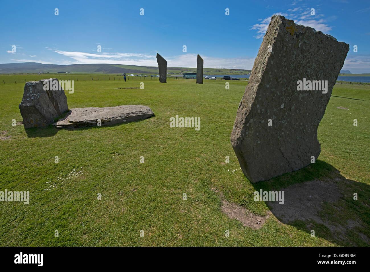 Stenness Standing Stones dentro del sitio del Patrimonio Mundial de la UNESCO, Heart of Neolithic Orkney. 10,704 de la SCO. Foto de stock