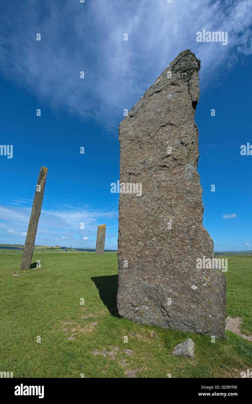 Stenness Standing Stones dentro del sitio del Patrimonio Mundial de la UNESCO, Heart of Neolithic Orkney. 10,711 de la SCO. Foto de stock