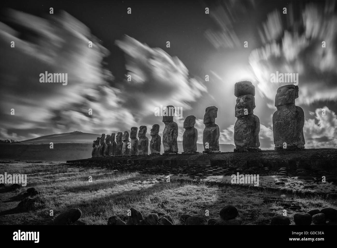 América del Sur, Chile, Isla de Pascua, Rapa Nui, Pacífico Sur,la UNESCO, Patrimonio Mundial, Foto de stock