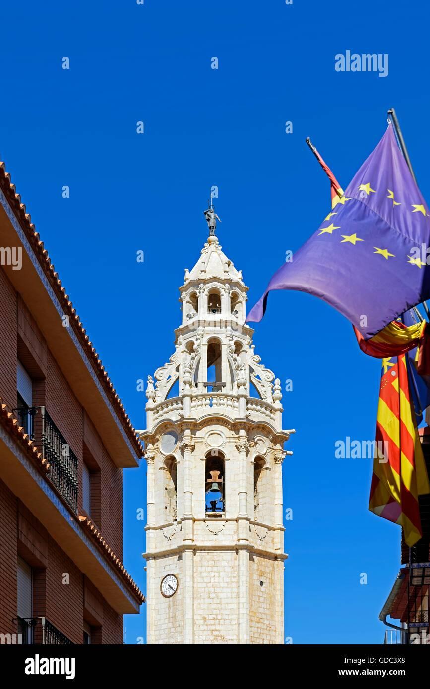 Iglesia Iglesia San Juan Bautista,torre, Foto de stock