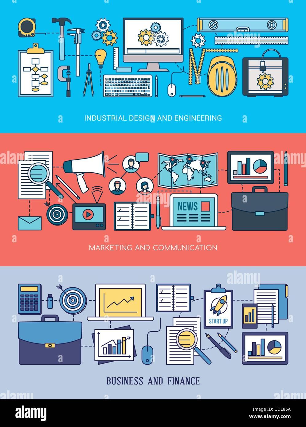 Ingeniería, marketing y negocios conjunto de banners con herramientas, equipo de red y objetos de escritorio Ilustración del Vector