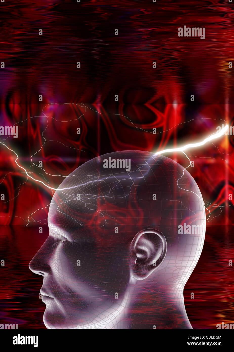 Cabeza humana con un fondo rojo abstracto Imagen De Stock
