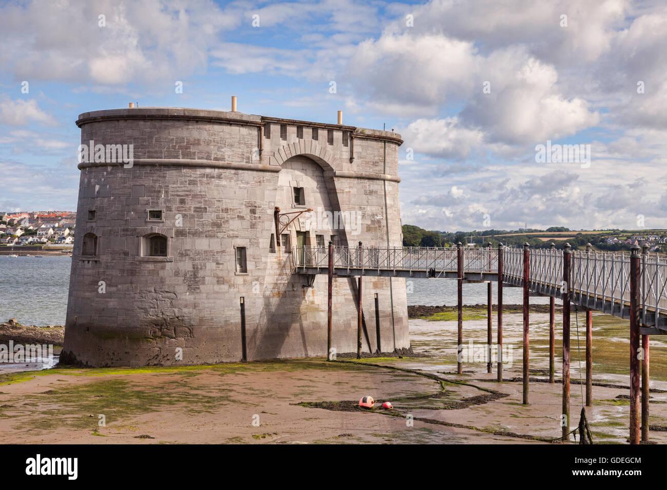Gun Museo Tower, Pembroke Dock, Pembrokeshire (Gales, Reino Unido Foto de stock