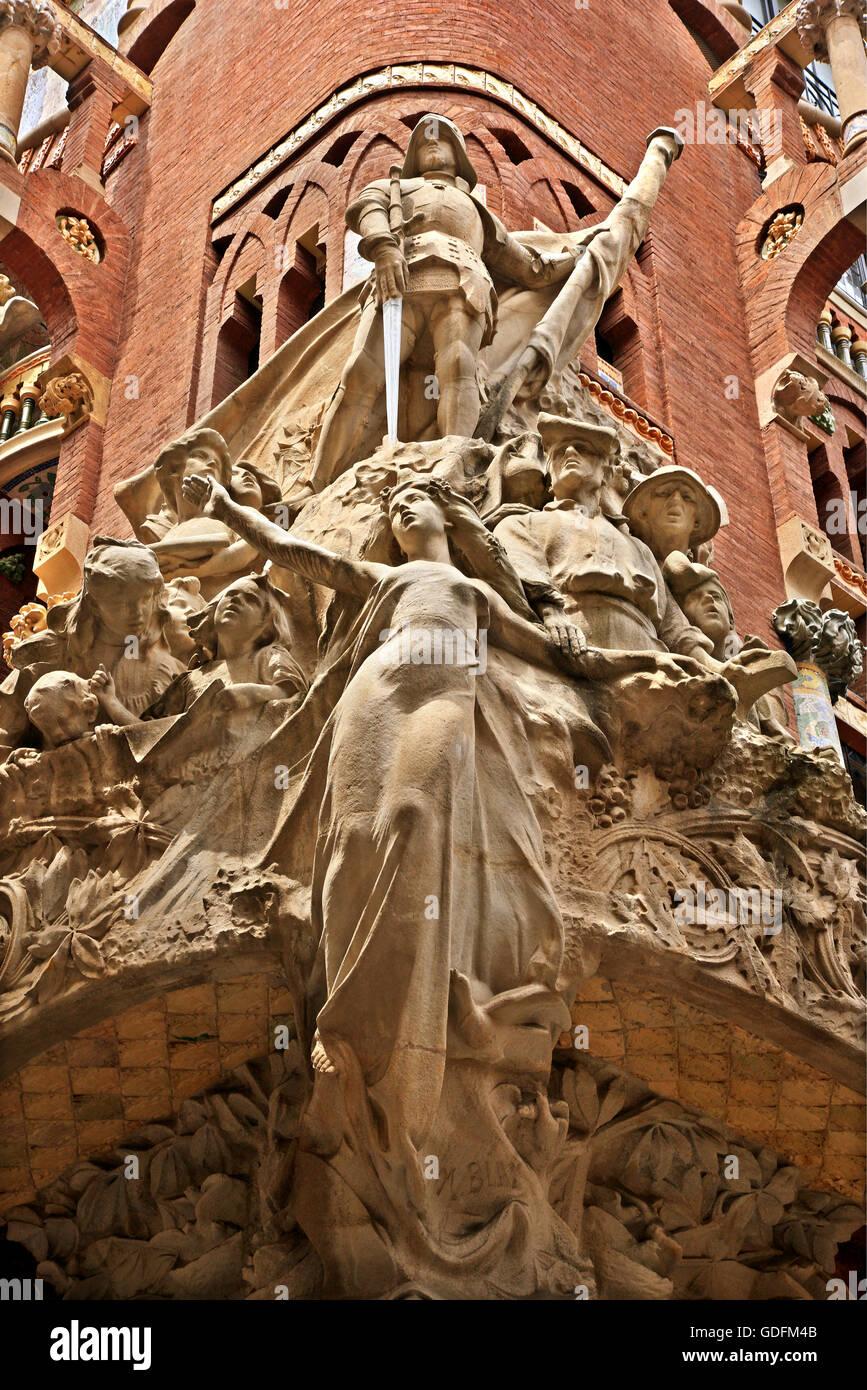 'Detalle' de la decoración del Palau de la Música Catalana, Barcelona, Cataluña, España. Imagen De Stock