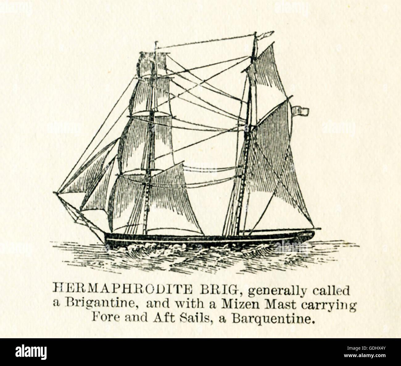 El buque que se ilustran en este dibujo del siglo xix es hermafrodita Brig. Imagen De Stock