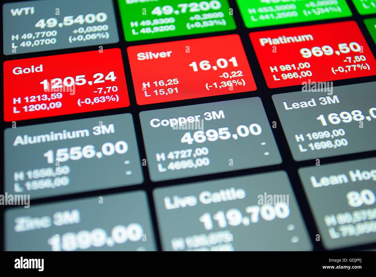Stock Market Board, antecedentes financieros Imagen De Stock