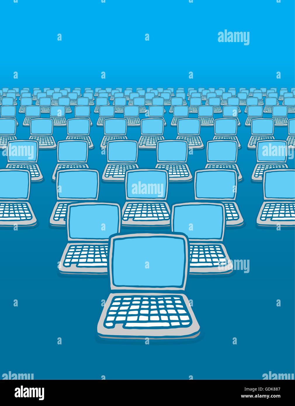 Cartoon ilustración de muchos ordenadores conectados a internet. Imagen De Stock