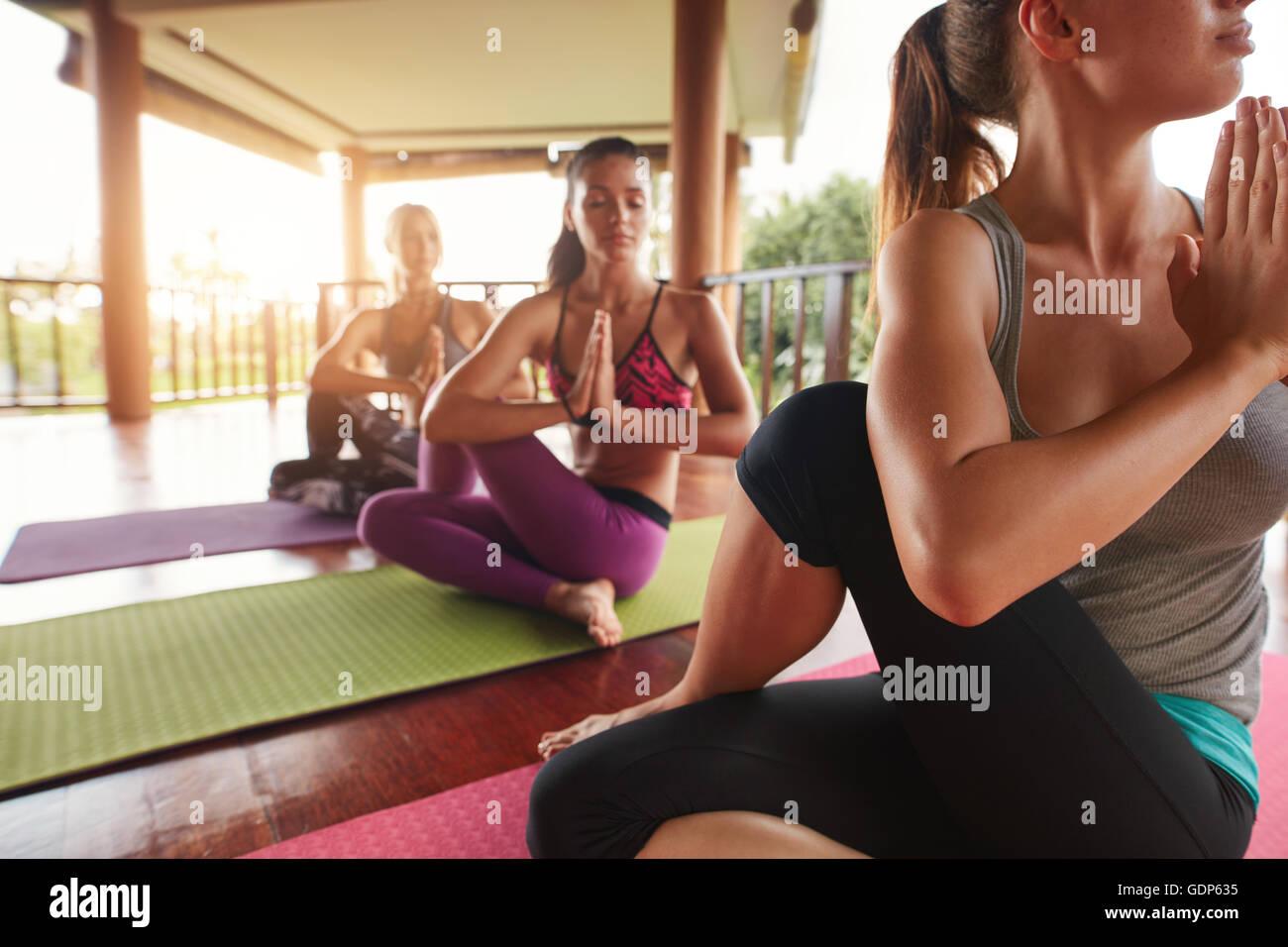 Foto de grupo de jóvenes practicando yoga en torcer la columna vertebral posan con sus manos juntas. Ardha Imagen De Stock