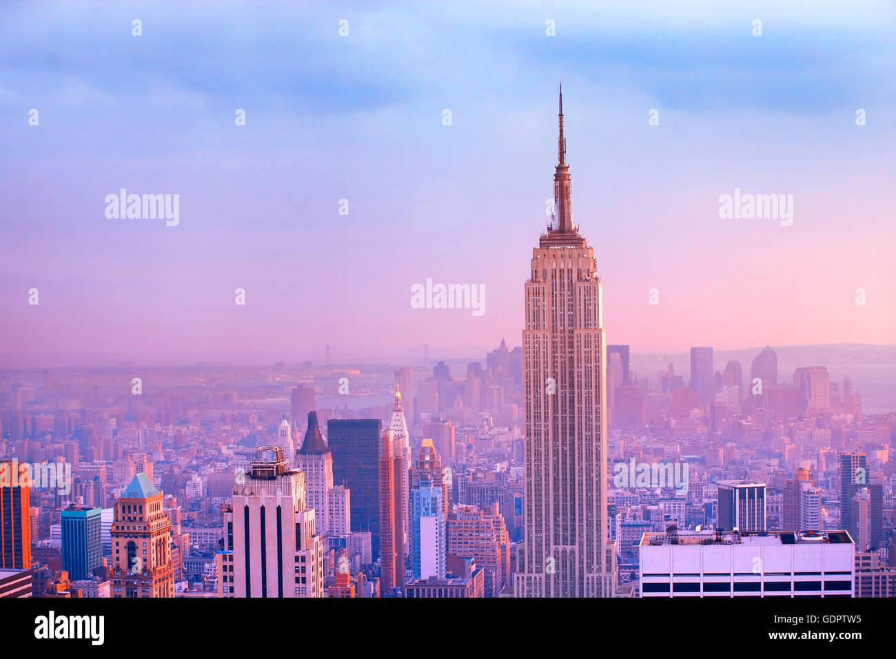 Perfil de Manhattan en la ciudad de Nueva York Imagen De Stock