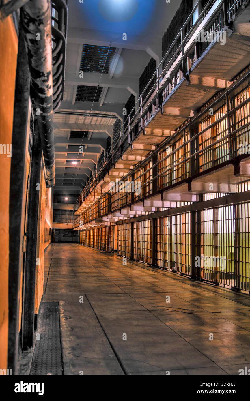 Alcatraz Bloque C en la noche Imagen De Stock
