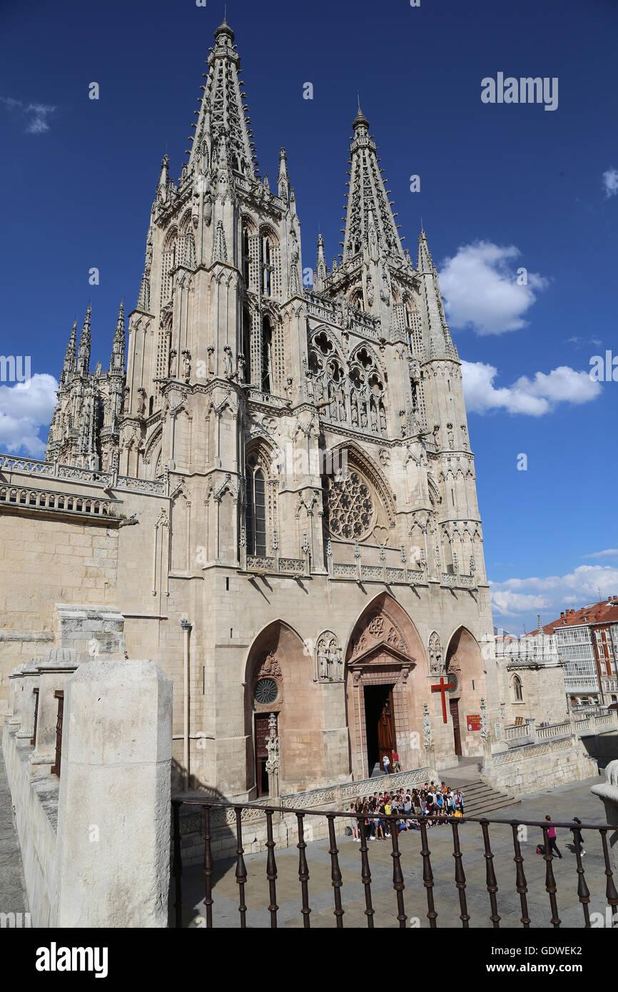 España. Burgos. Catedral de Santa María. De estilo gótico. Fachada de Santa María. Foto de stock