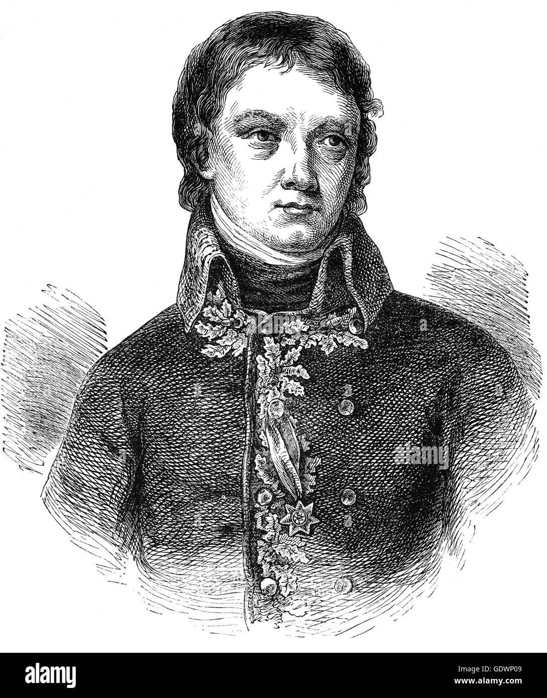 Jean-Andoche Junot, 1r duque de Abrantès (1771 - 1813) General Junot sirvió durante las Guerras Napoleónicas y revolucionarias. Fue nombrado Gobernador de Portugal, pero cuando una fuerza expedicionaria británica aterrizó, Junot fue derrotado en la batalla de Vimeiro el 21 de agosto de 1808. Foto de stock