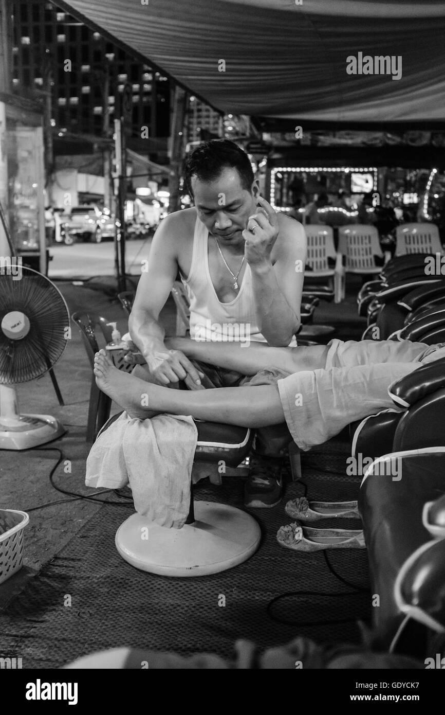 Punto de presión,reflexología masaje de pies,,Chiang Mai, Tailandia Imagen De Stock