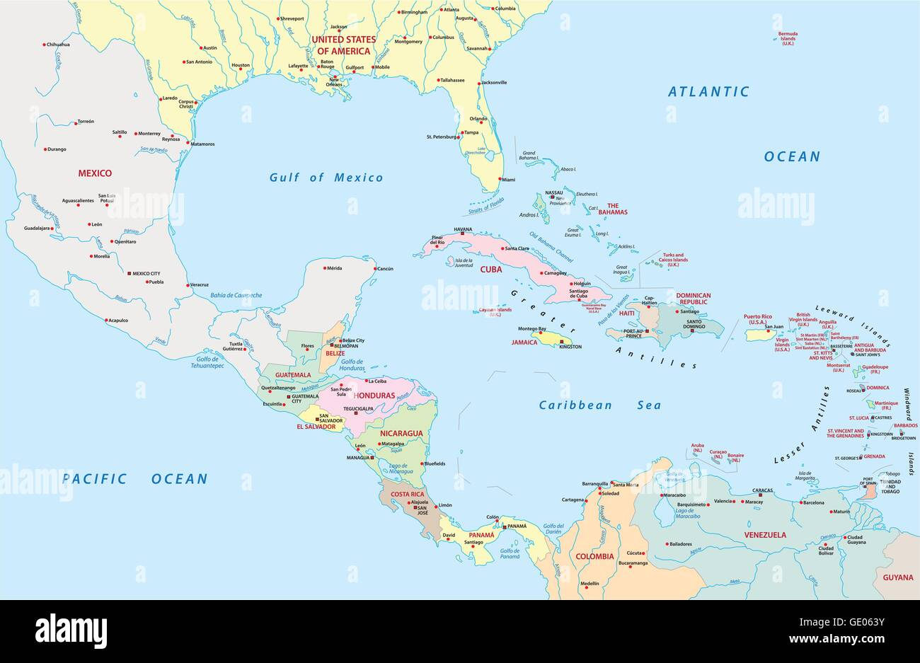 Mapa administrativo de los países de América Central y el Caribe Imagen De Stock