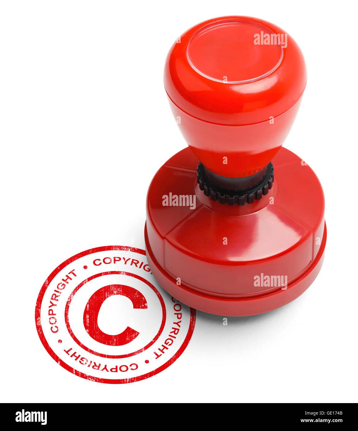 Rojo Copyright Stamper aislado sobre fondo blanco. Foto de stock