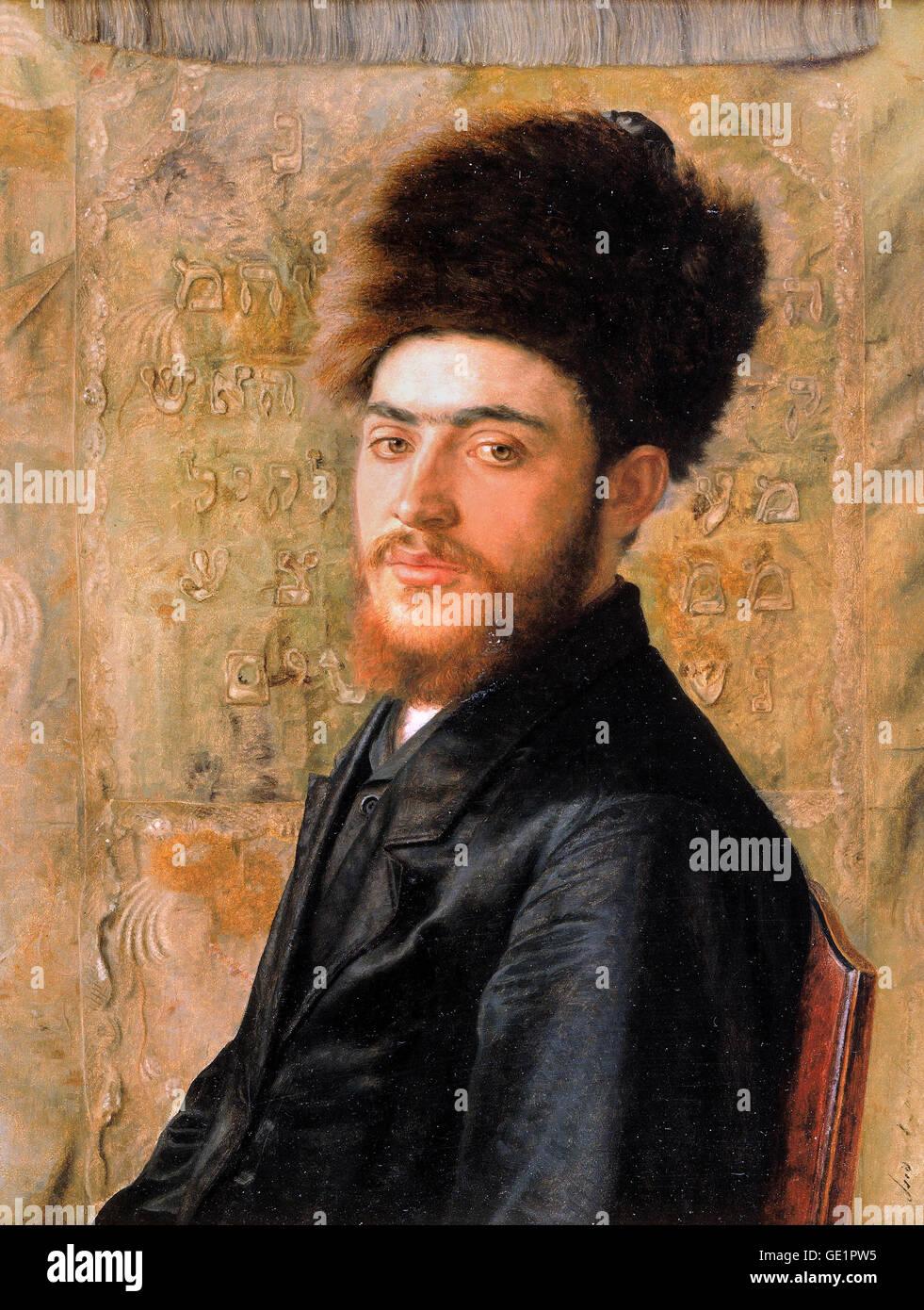 Isidor Kaufmann, el hombre con el sombrero de piel. Circa 1910. Aceite en el panel. El Museo Judío, la ciudad Imagen De Stock