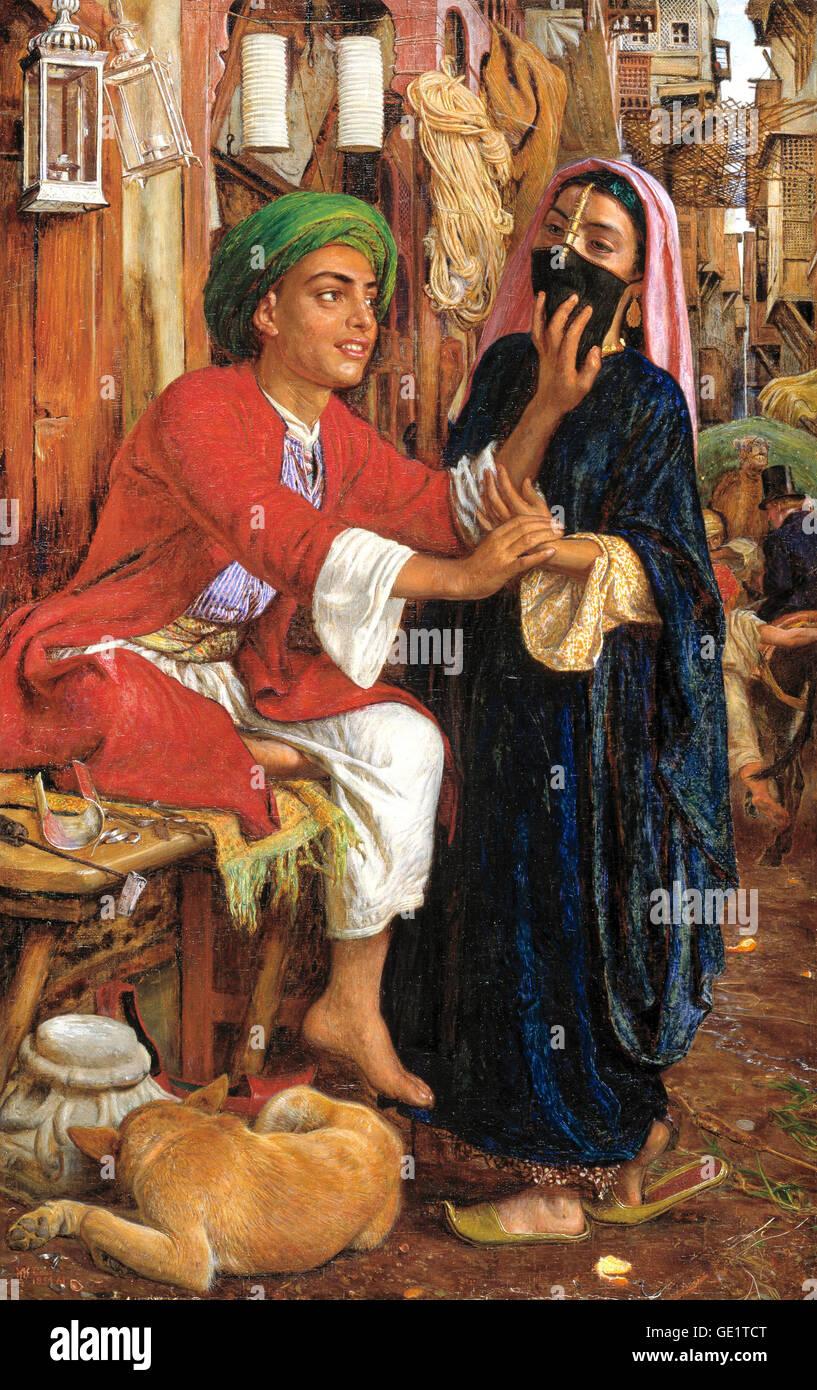 William Holman Hunt, escena callejera en El Cairo: La linterna del creador de noviazgo. 1854-1861 Óleo sobre Imagen De Stock