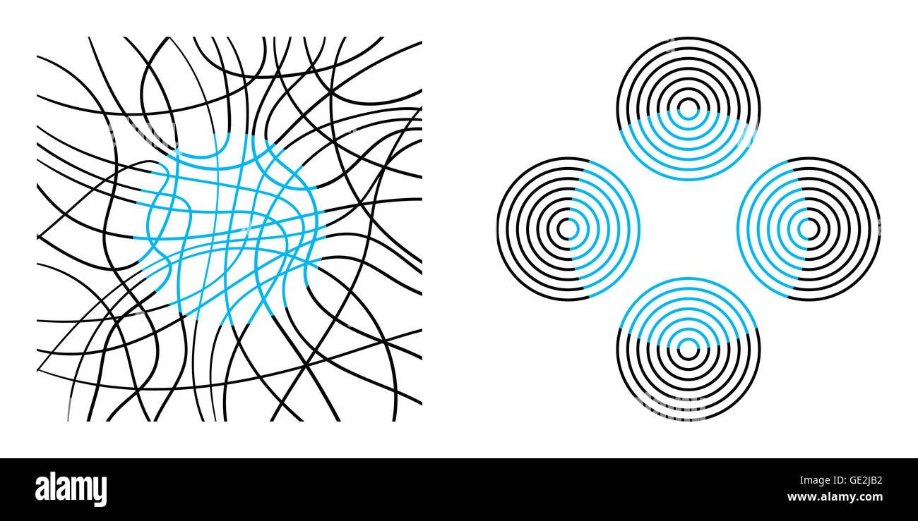 Color de neón extendiendo, una ilusión óptica que se caracteriza por el líquido de las fronteras Imagen De Stock