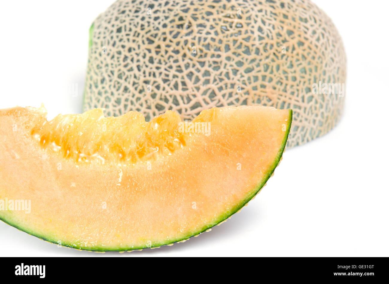 Cucumis melo o melón serie en bandeja de acero (Otros nombres son cantelope, cantaloup, honeydew, Crenshaw, Imagen De Stock