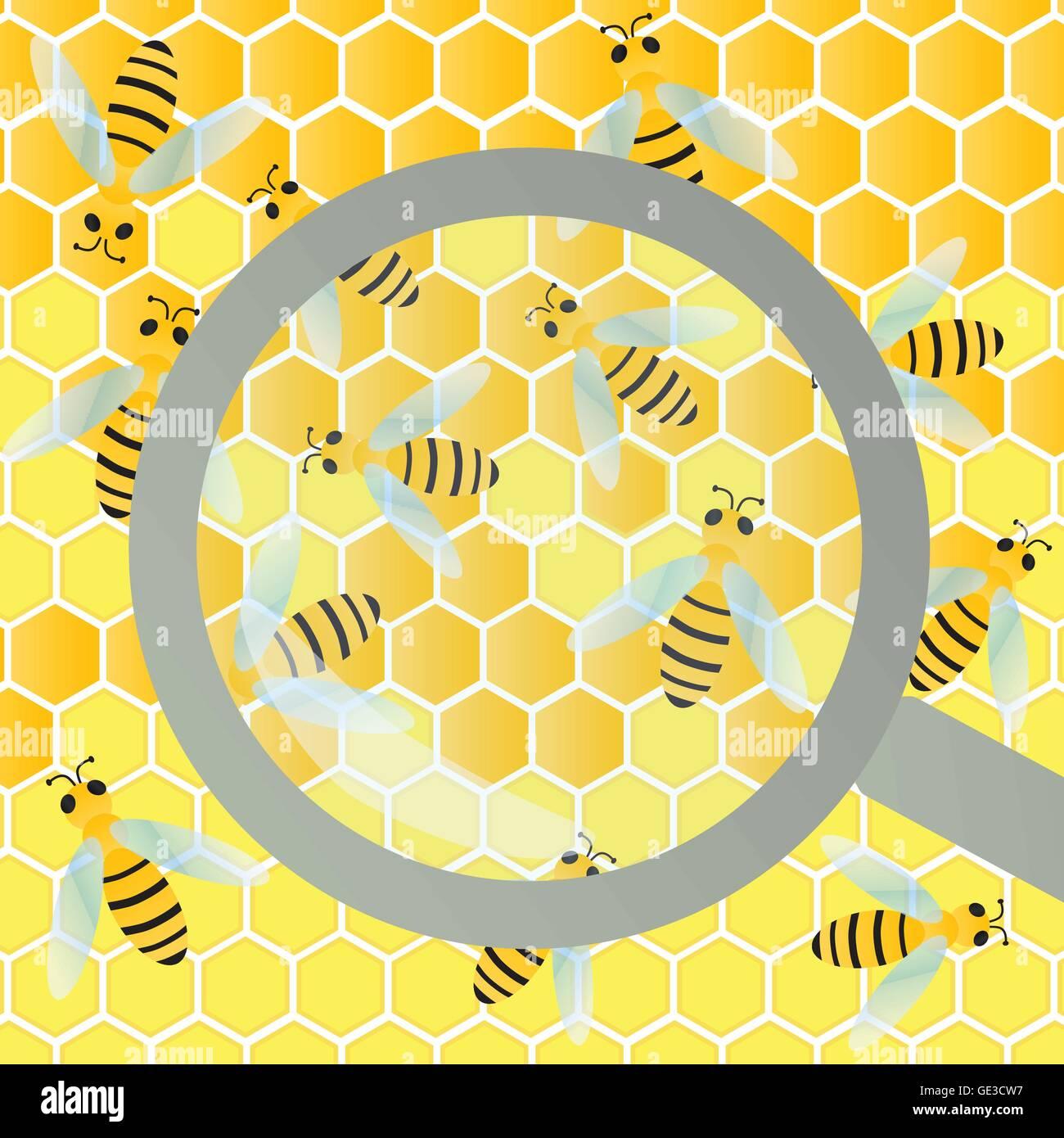 Colmena de abejas y cera de panal bajo la lupa de inspección de vidrio ilustración vectorial de fondo Imagen De Stock