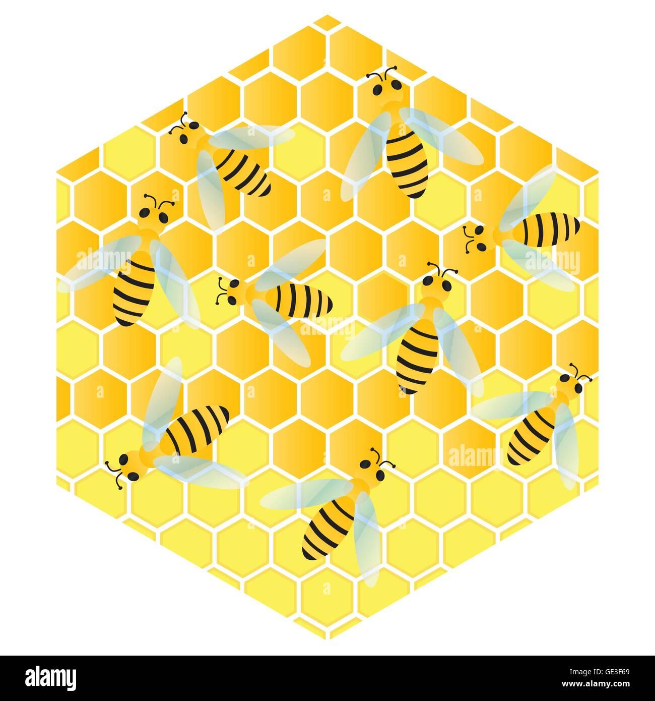 Las abejas y los panales de cera vector ilustración de fondo de celda Imagen De Stock