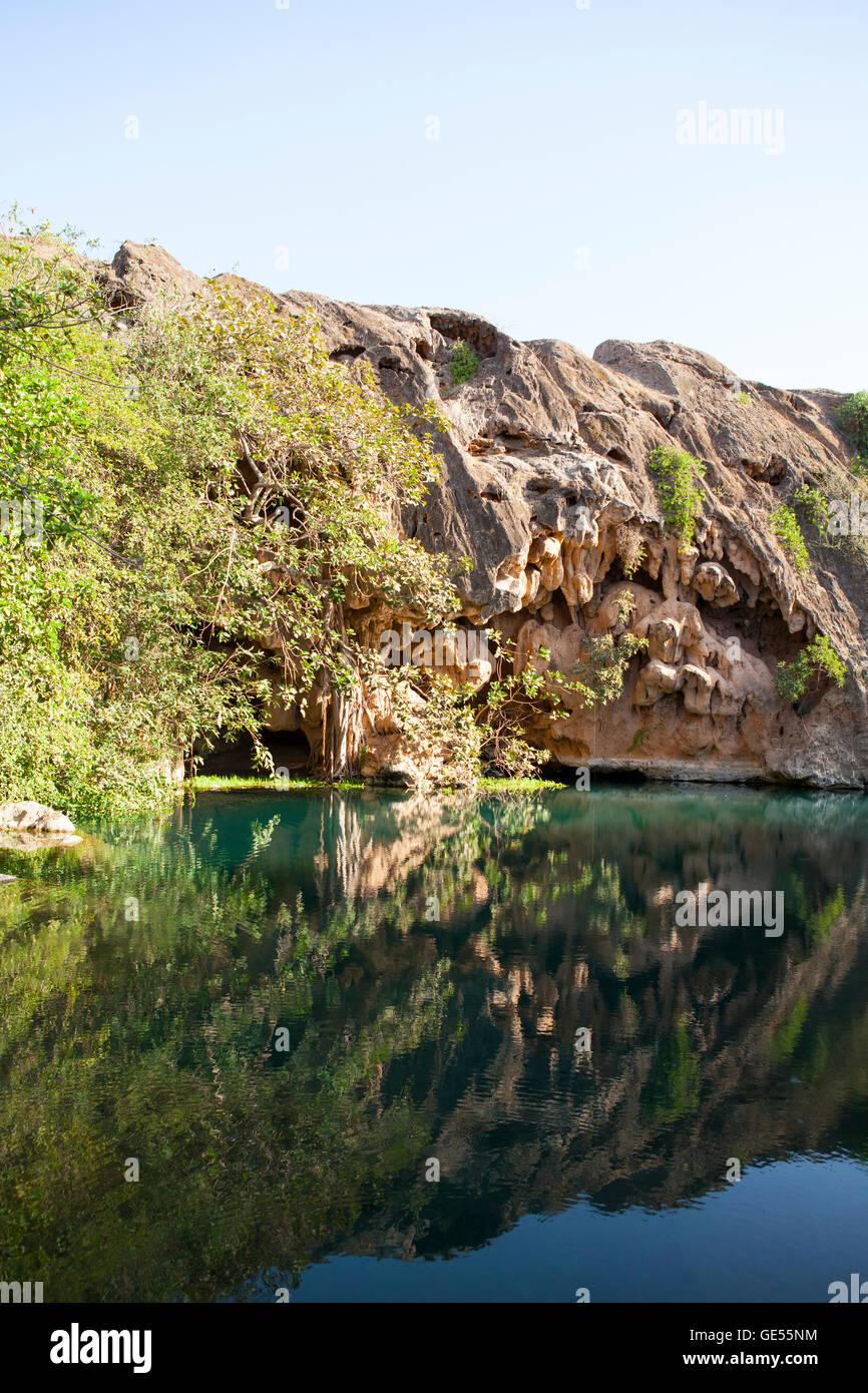 Oasis en las montañas de Dhofar, Omán. Imagen De Stock