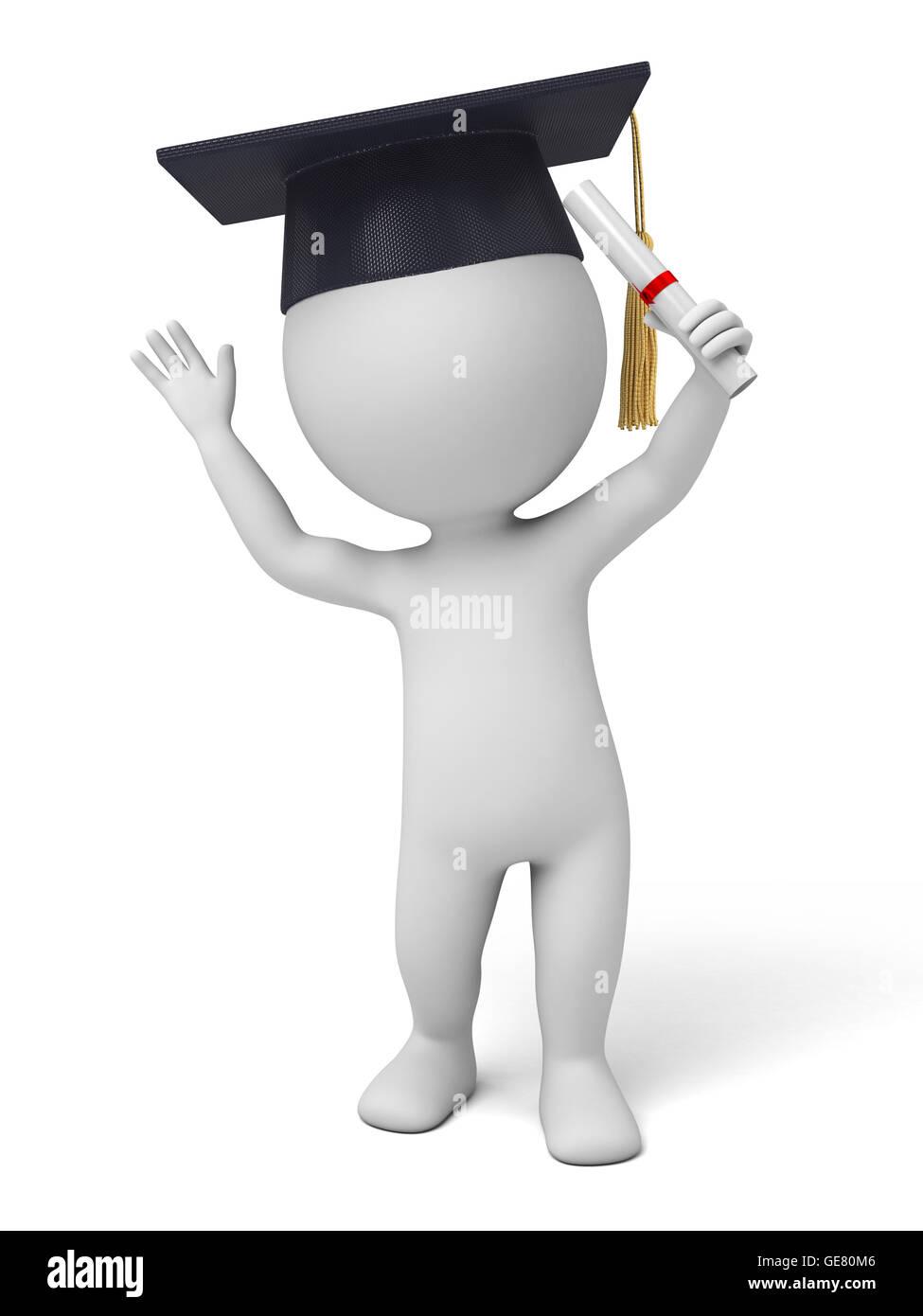 El hombre en 3D se graduó de la escuela Imagen De Stock
