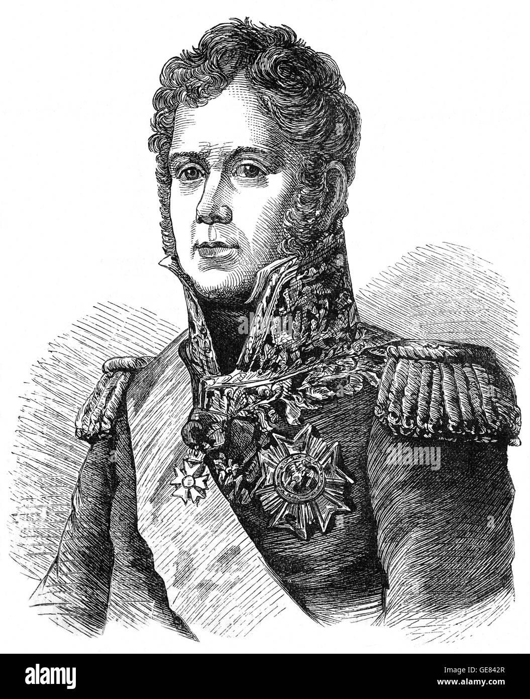 Michel Ney (1769 - 1815), conocido como el Mariscal Ney, fue un soldado francés y comandante militar durante las guerras revolucionarias francesas y las guerras napoleónicas. Actuó en 1812 en la invasión de Rusia y fue uno de los 18 mariscales del imperio creado por Napoleón. Foto de stock